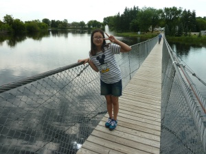 Scarlet on the swinging bridge.