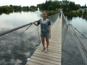 Abby on the swinging bridge.