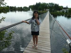 Lana on the swinging bridge.