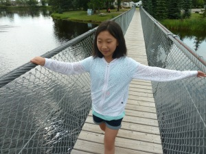 Serra on the swinging bridge in Wolseley