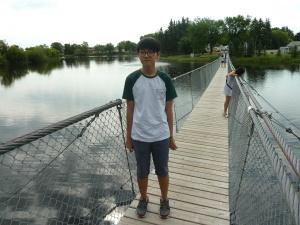 Jason on the swinging bridge.